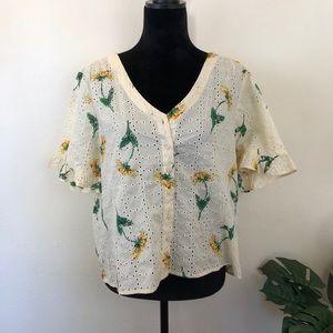 Madewell floral eyelet ruffle sleeve blouse